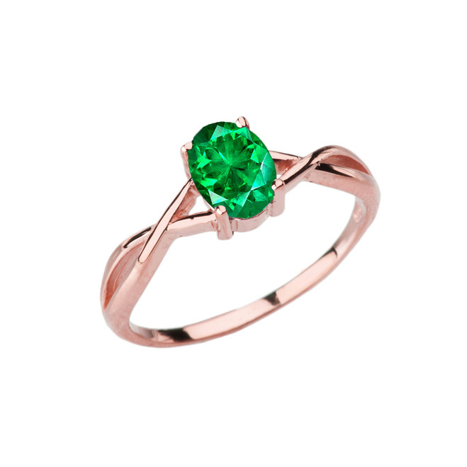 Dainty Rose Gold Infinity Design Emerald (LCE) Solitaire Ring