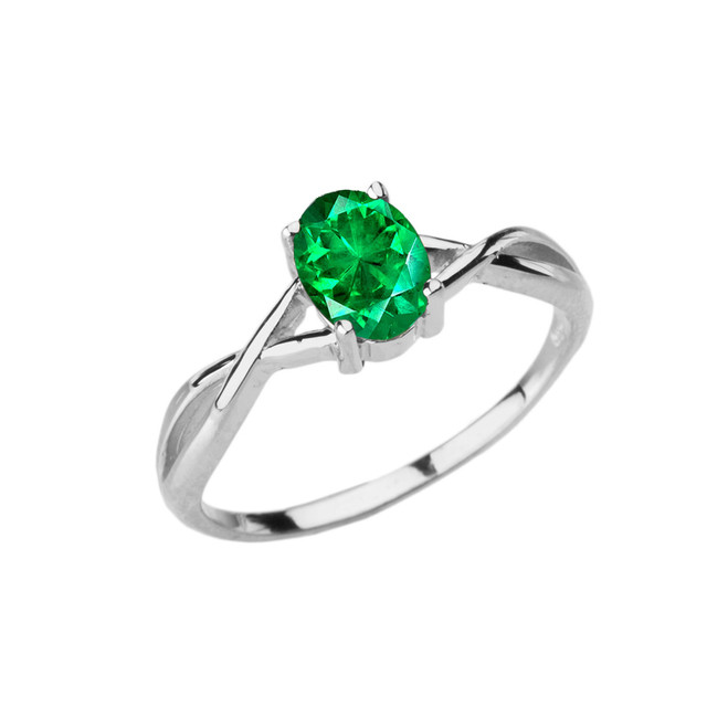 Dainty White Gold Infinity Design Emerald (LCE) Solitaire Ring