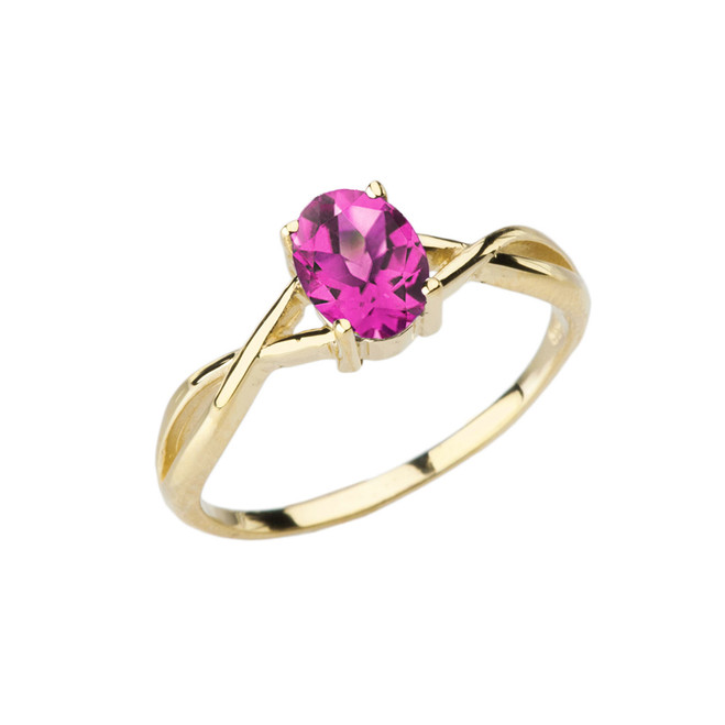 Dainty Yellow Gold Infinity Design Alexandrite (LCAL) Solitaire Ring