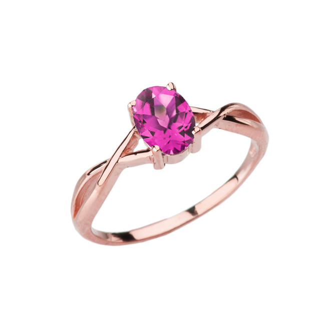 Dainty Rose Gold Infinity Design Alexandrite (LCAL) Solitaire Ring