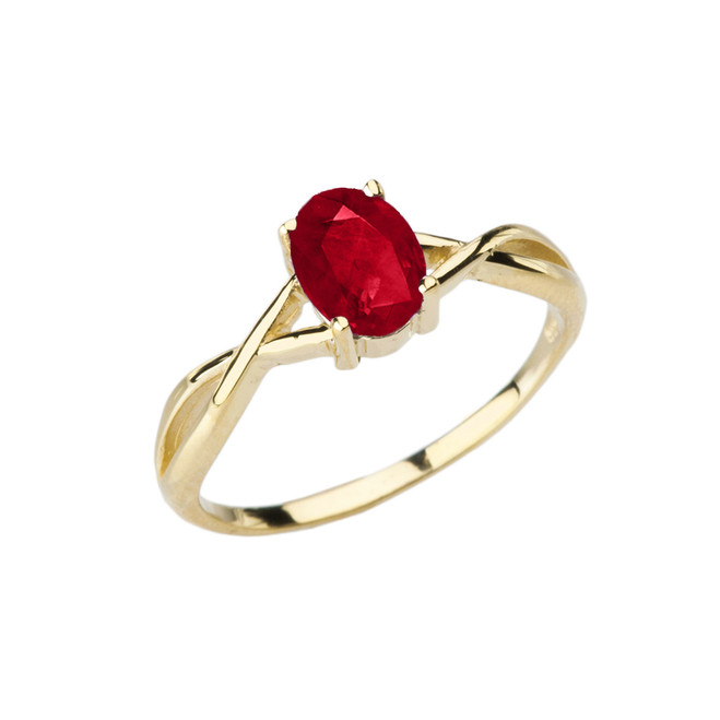 Dainty Yellow Gold Infinity Design Ruby (LCR) Solitaire Ring