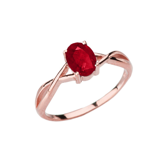 Dainty Rose Gold Infinity Design Ruby (LCR) Solitaire Ring