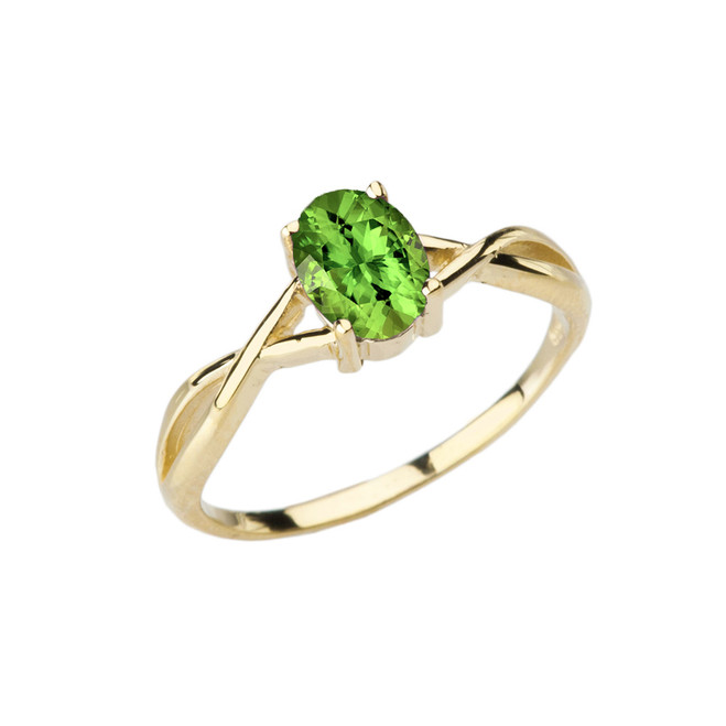 Dainty Yellow Gold Infinity Design Peridot (LCP) Solitaire Ring