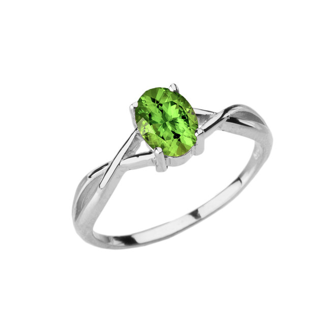 Dainty White Gold Infinity Design Peridot (LCP) Solitaire Ring