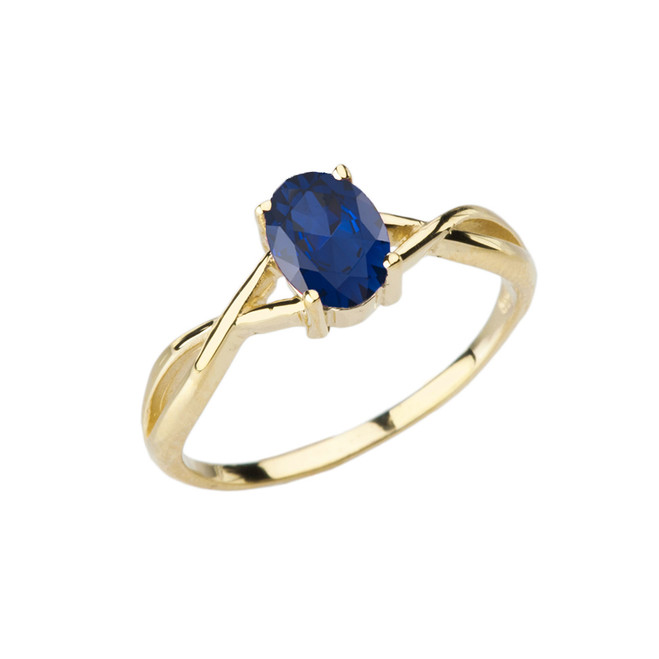 Dainty Yellow Gold Infinity Design Sapphire (LCS) Solitaire Ring