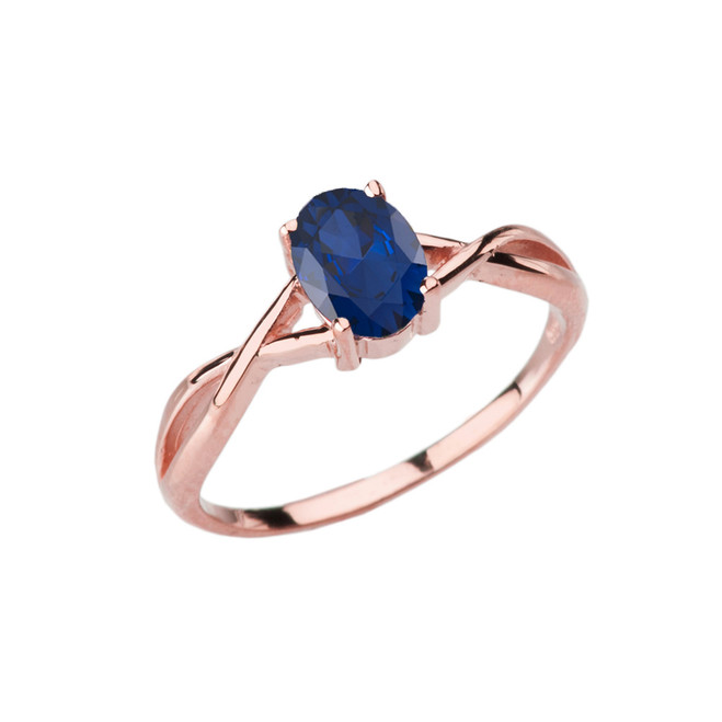 Dainty Rose Gold Infinity Design Sapphire (LCS) Solitaire Ring