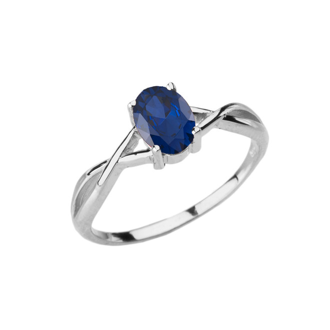 Dainty White Gold Infinity Design Sapphire (LCS) Solitaire Ring