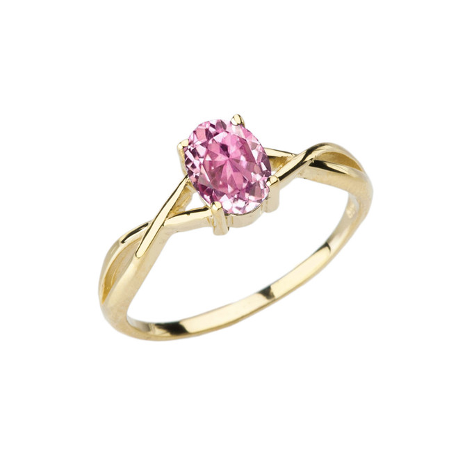 Dainty Yellow Gold Infinity Design Pink Cubic Zirconia (PCZ) Solitaire Ring