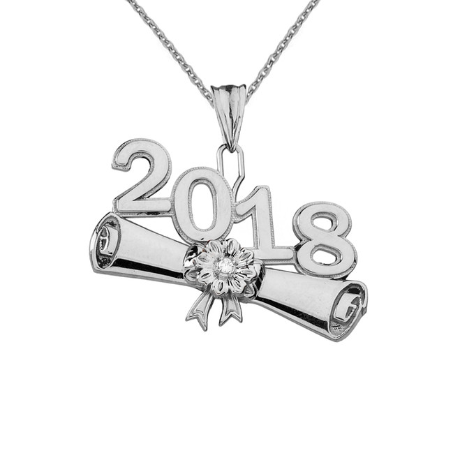 Sterling Silver  CZ  Class of 2018 Graduation Diploma Pendant Necklace