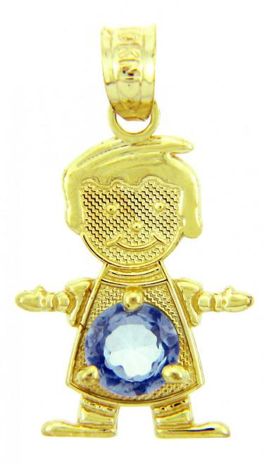 CZ Blue Round Baby Birthstone Charm