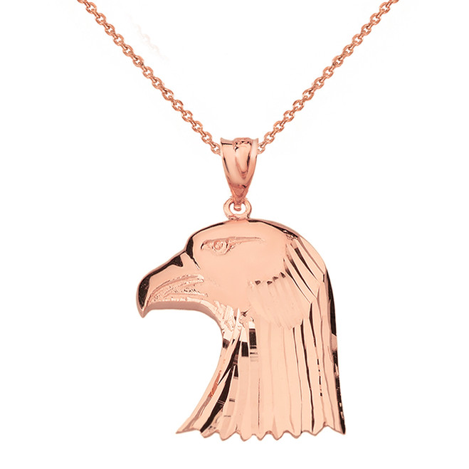 Solid Genuine Rose Gold Diamond Cut Bald Eagle Head Pendant Necklace