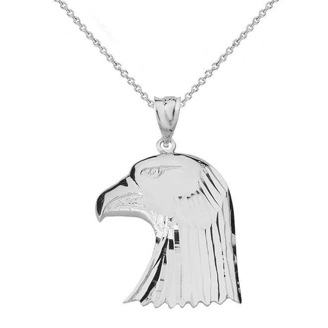 Solid Genuine White Gold Diamond Cut Bald Eagle Head Pendant Necklace
