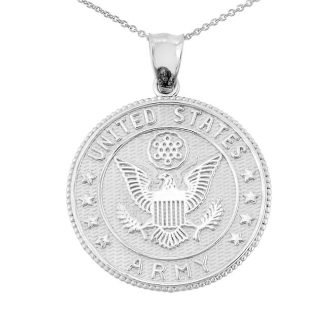 White Gold Two Sided US Army Coin Pendant Necklace