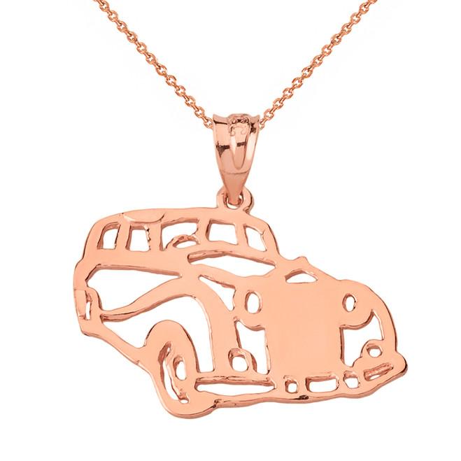 Solid Genuine Rose Gold Classic Car Pendant Necklace