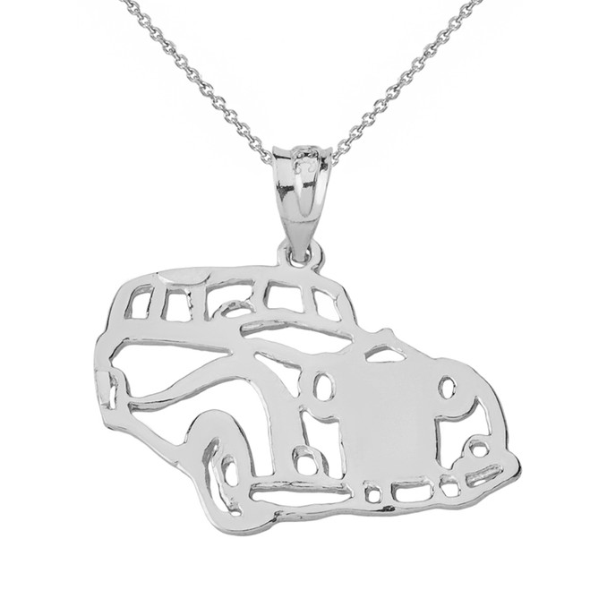Solid Genuine White Gold Classic Car Pendant Necklace