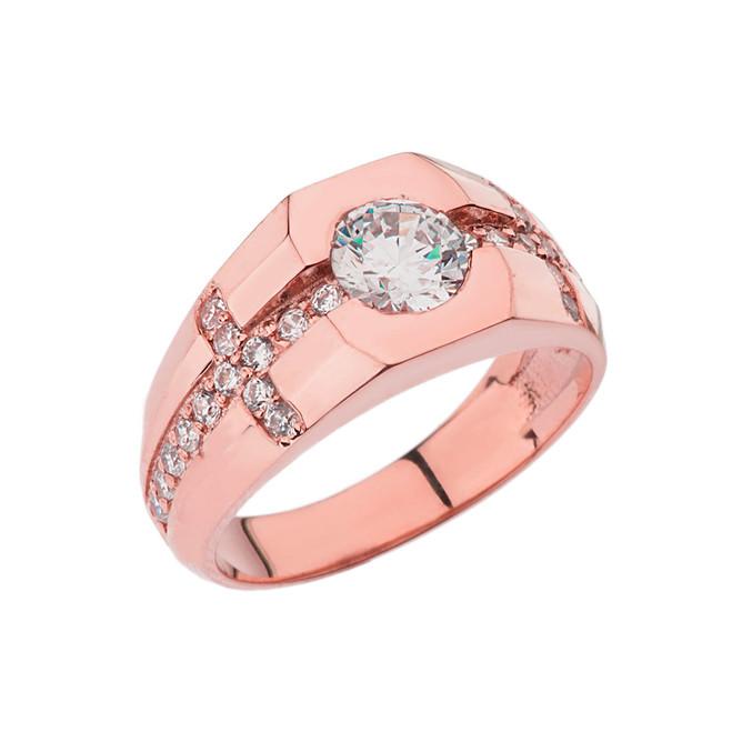 Mens Rose Gold Diamond Cross Ring with White Topaz Center Stone