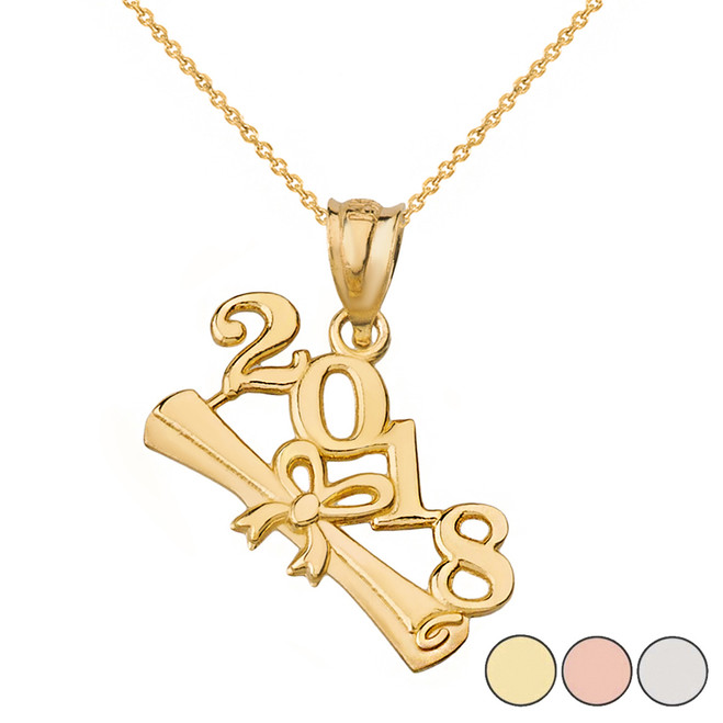 Class of 2018  Diploma Pendant Necklace in Solid Gold (Yellow/Rose/White)
