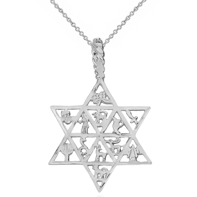 Solid White Gold Jewish Star of David Charm 12 Tribes of Israel Pendant Necklace