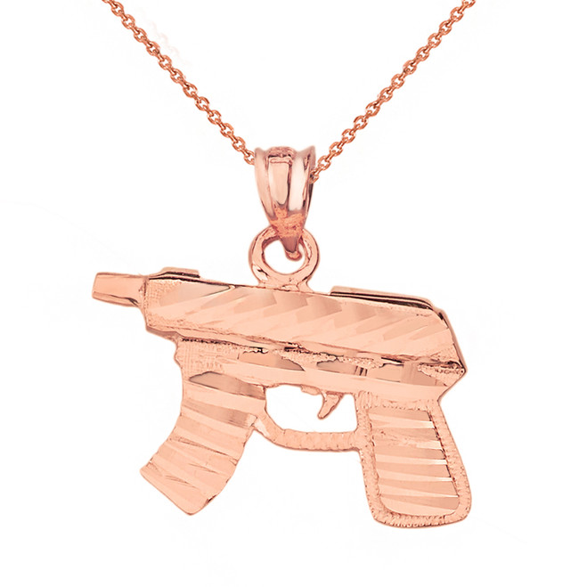 Solid Rose Gold Diamond Cut Gun Rifle Pendant Necklace