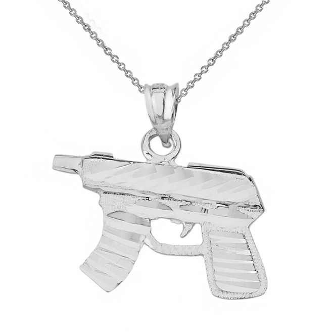 Solid White Gold Diamond Cut Gun Rifle Pendant Necklace