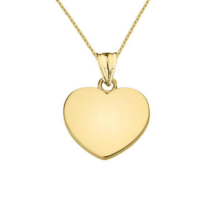 Solid Yellow Gold Simple Heart Pendant Necklace