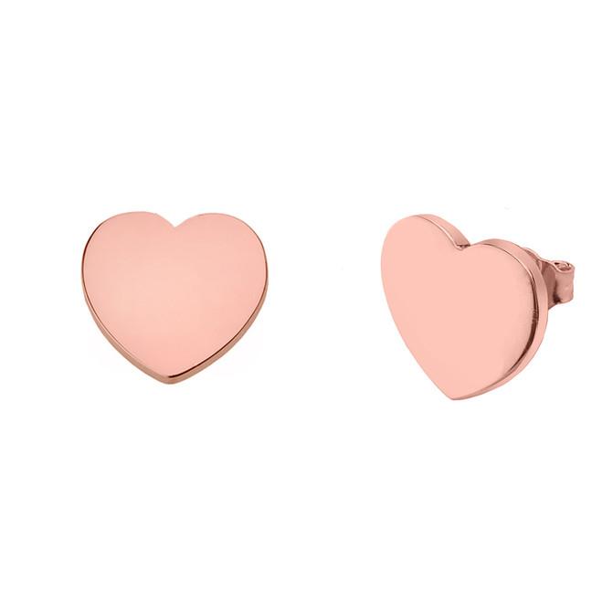 Solid 10K Rose Gold Simple Heart Earrings
