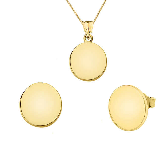Solid Yellow Gold Simple Round Pendant Necklace Set