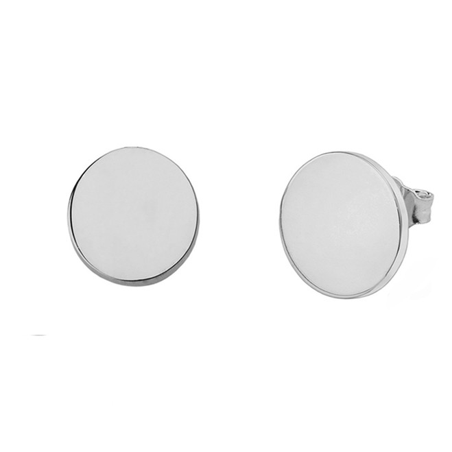 Solid White Gold Simple Round Earrings