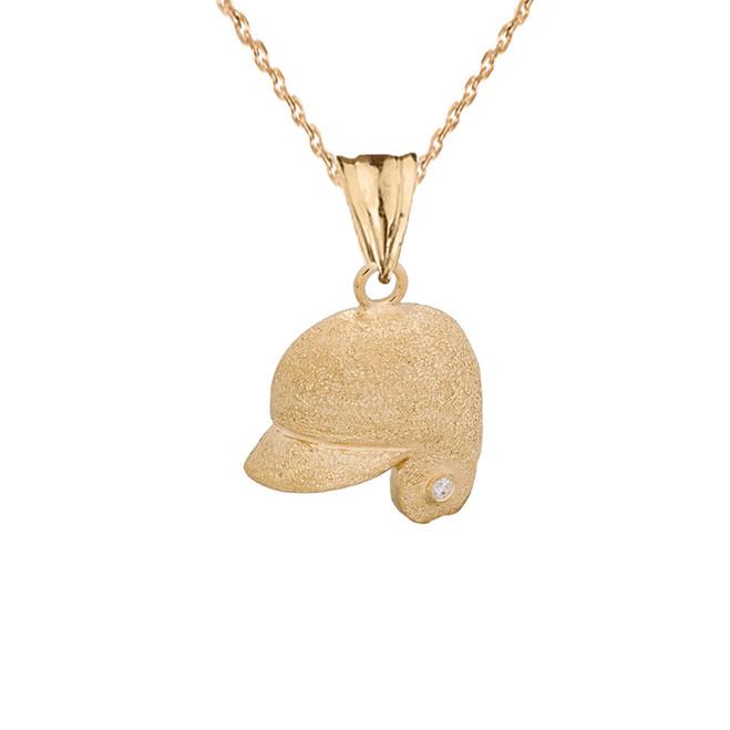 Textured Yellow Gold Diamond Baseball Player Helmet Pendant Necklace