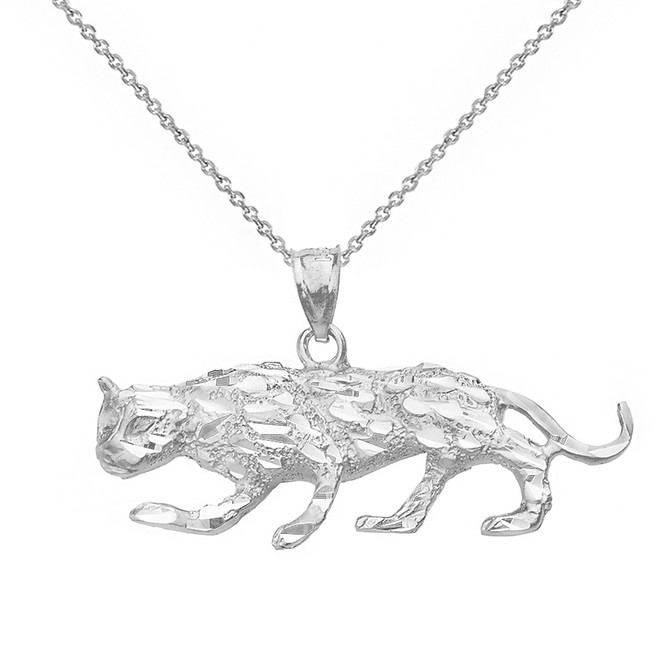 Solid White Gold Diamond Cut Cheetah Pendant Necklace