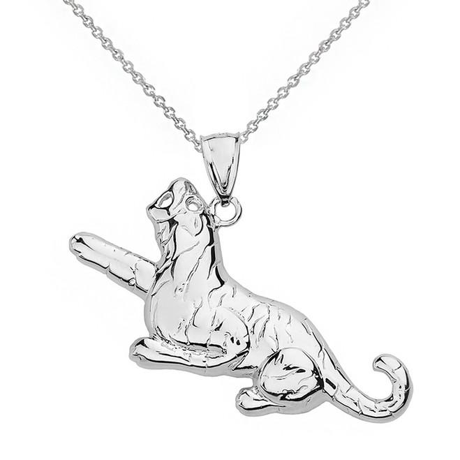 Sterling Silver Big Cat Roaring Tiger Pendant Necklace