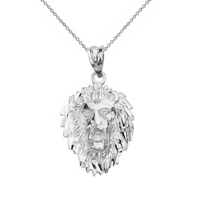 Solid White Gold Diamond Cut Roaring Lion Head  Pendant Necklace
