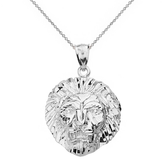 Solid White Gold Diamond Cut Leo Zodiac Roaring Lion Head Pendant Necklace