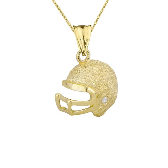 Textured Yellow Gold Diamond Football Player Helmet Pendant Necklace