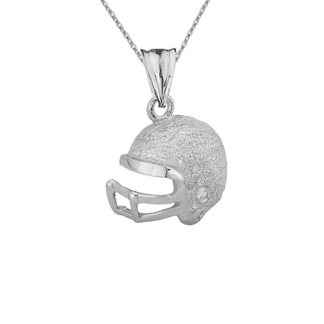 Textured White Gold Diamond Football Player Helmet Pendant Necklace