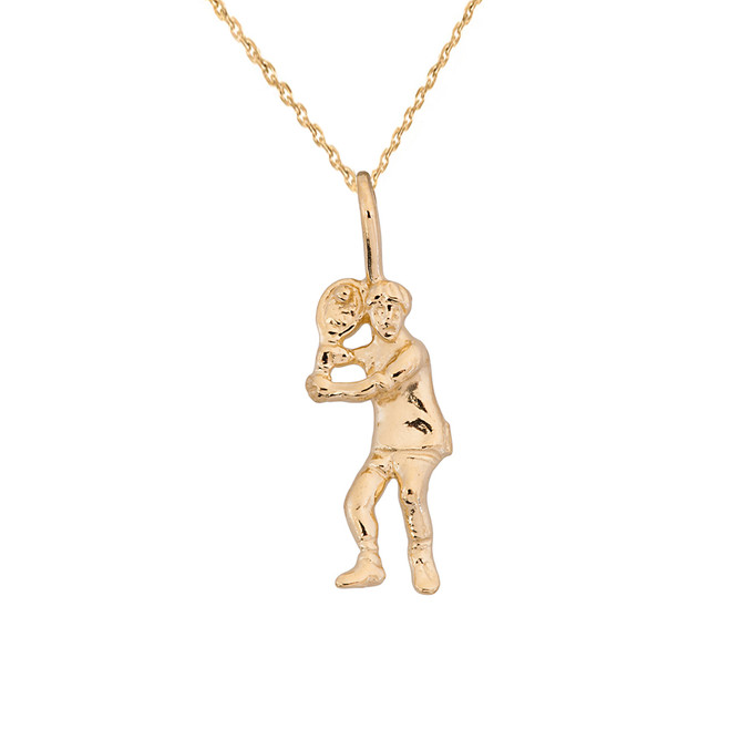 Yellow Gold Tennis Player Pendant Necklace