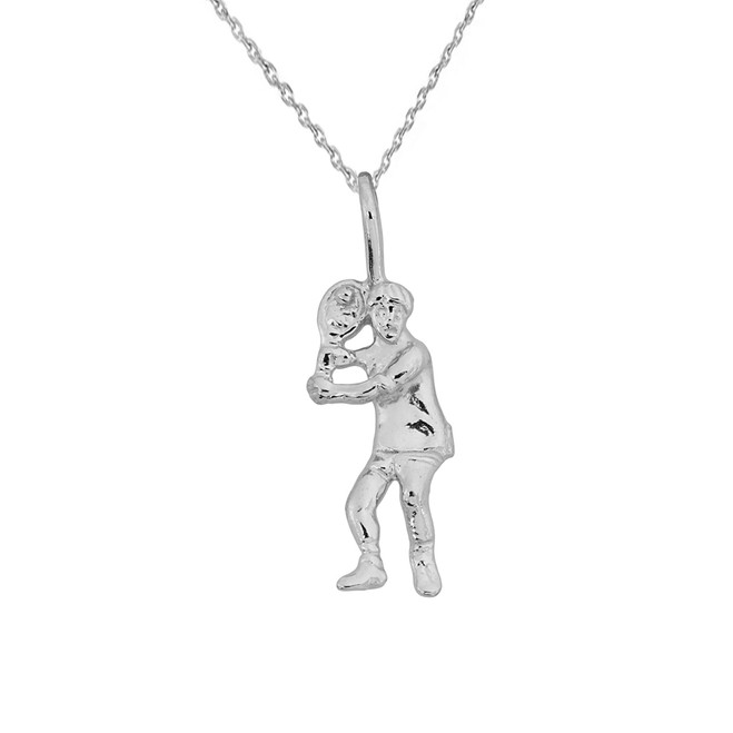 White Gold Tennis Player Pendant Necklace
