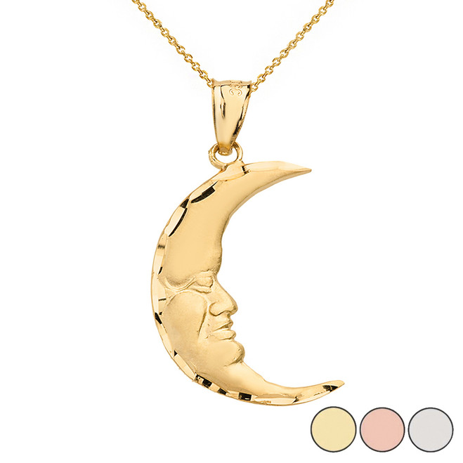 Diamond Cut Crescent Moon Face Pendant Necklace  in Solid Gold (Yellow/Rose/White)