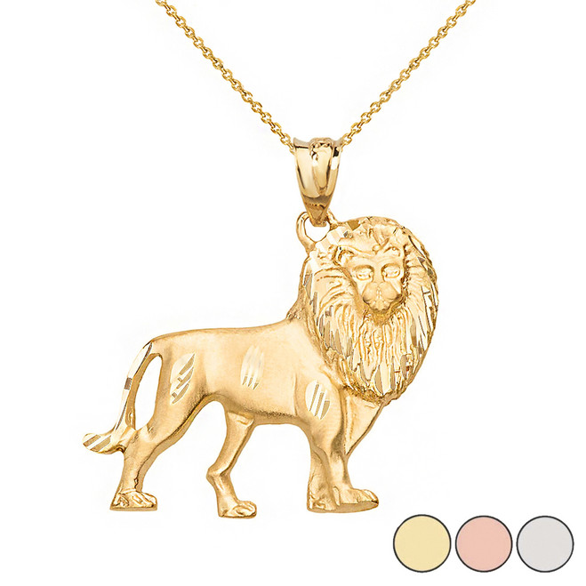 Diamond Cut Leo Zodiac Royal Lion Pendant Necklace in Solid Gold (Yellow/Rose/White)