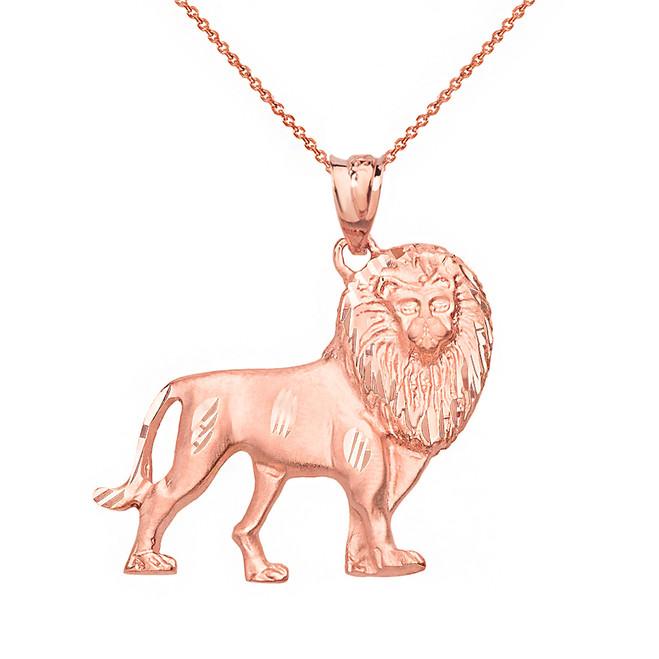 Solid Rose Gold Diamond Cut Leo Zodiac Royal Lion Pendant Necklace