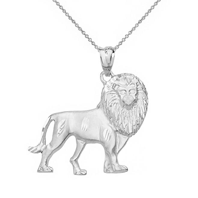 Solid White Gold Diamond Cut Leo Zodiac Royal Lion Pendant Necklace