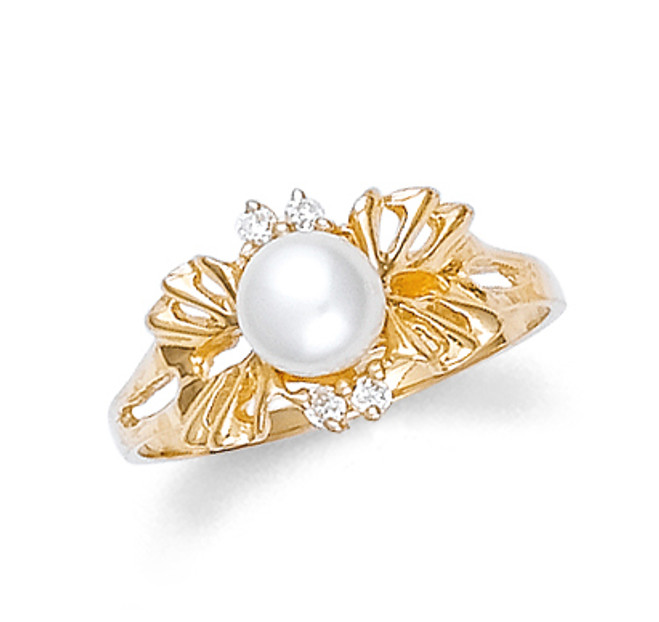 Gold Pearl Ring with Cubic Zirconia