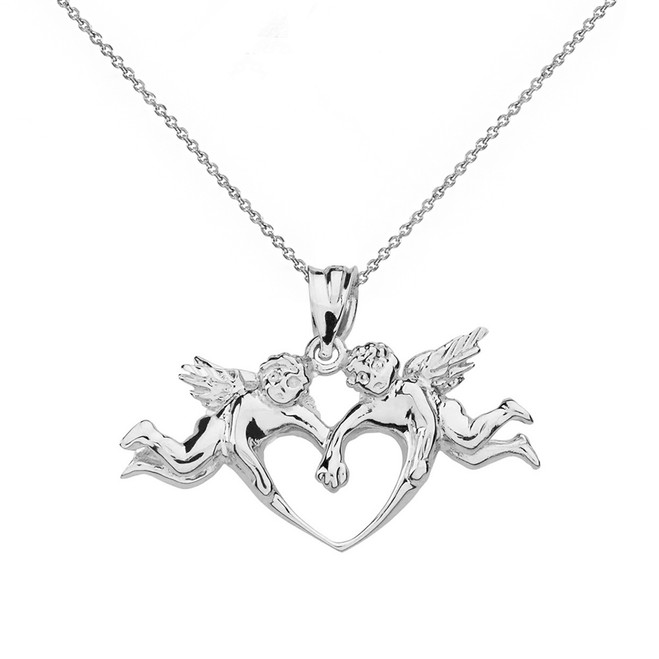 Solid White Gold Cherub Angels Love Heart Pendant Necklace