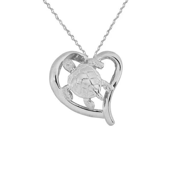 White Gold Sea Turtle in Heart Cut Out Pendant Necklace with Hidden Bail