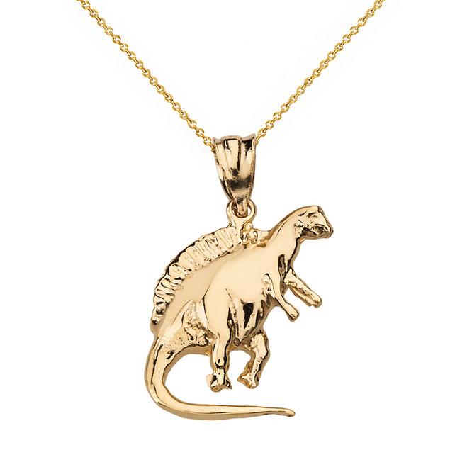 Solid Yellow Gold Spinosaurus Dinosaur Pendant Necklace