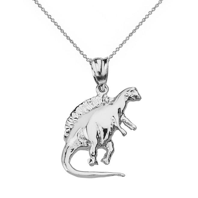 Solid White Gold Spinosaurus Dinosaur Pendant Necklace