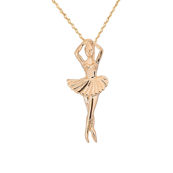Solid Yellow Gold Ballerina Dancer Pendant Necklace