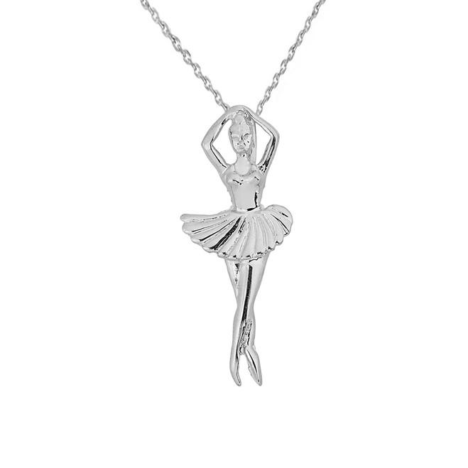Solid White Gold Ballerina Dancer Pendant Necklace
