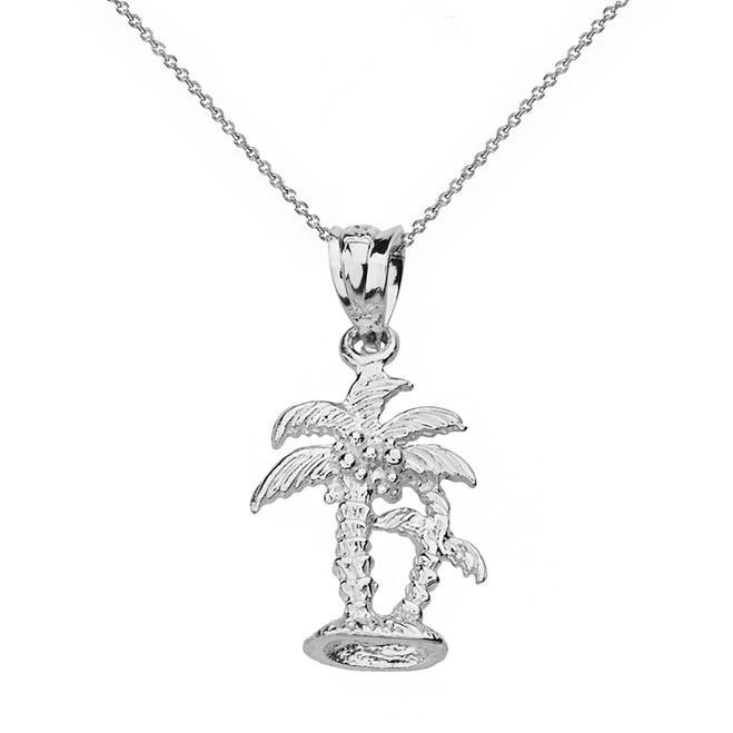 Solid White Gold Texture Double Palm Trees Pendant Necklace