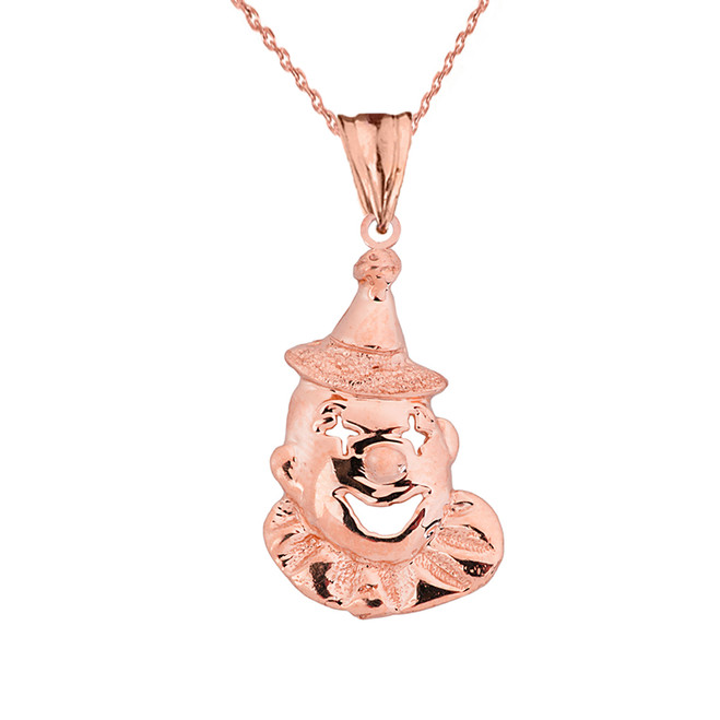 Solid Rose Gold Clown Pendant Necklace